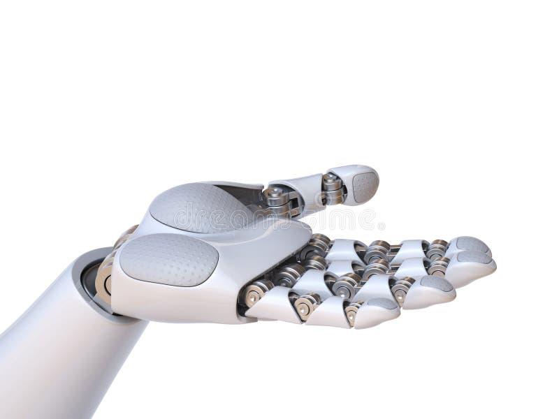 Mão do robô que guarda a rendição do gesto 3d ilustração royalty free