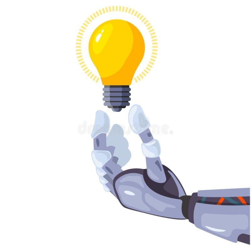 Mão do robô que guarda um bulbo em uma tecnologia conceptual da ideia Conceito de projeto futurista da inteligência artificial ilustração royalty free