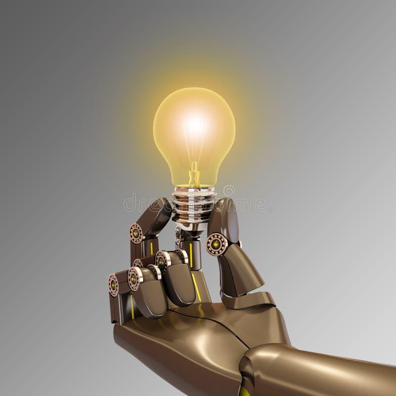 Mão do robô que guarda uma ampola ilustração do vetor