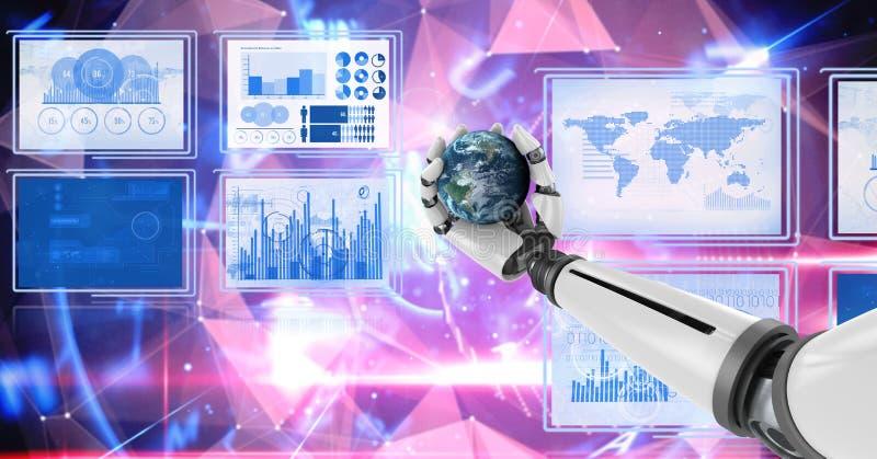 A mão do robô que interage com a relação da tecnologia almofada guardar o globo do mundo ilustração stock