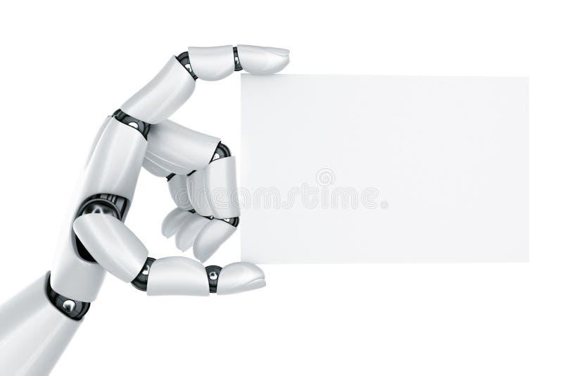 Mão do robô que prende um sinal em branco ilustração do vetor