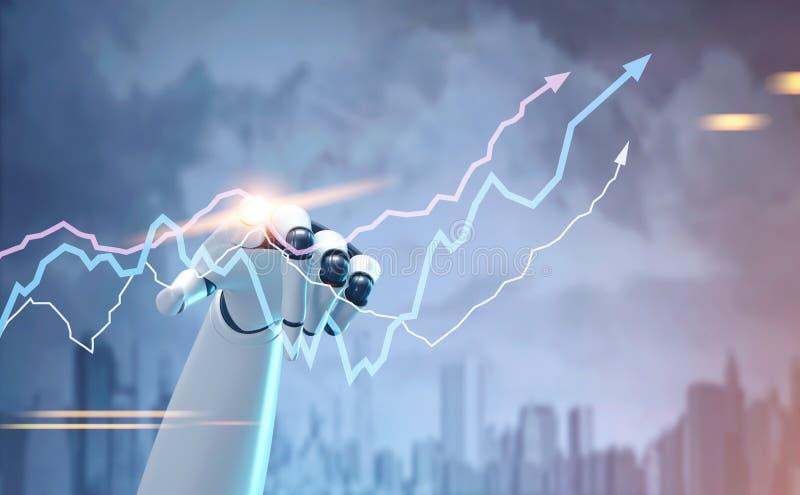 Mão do robô que toca em um holograma do gráfico, cidade ilustração royalty free