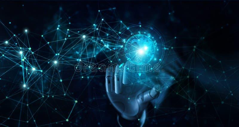 M?o do rob? que toca na conex?o de rede futurista global AI, intelig?ncia artificial,
