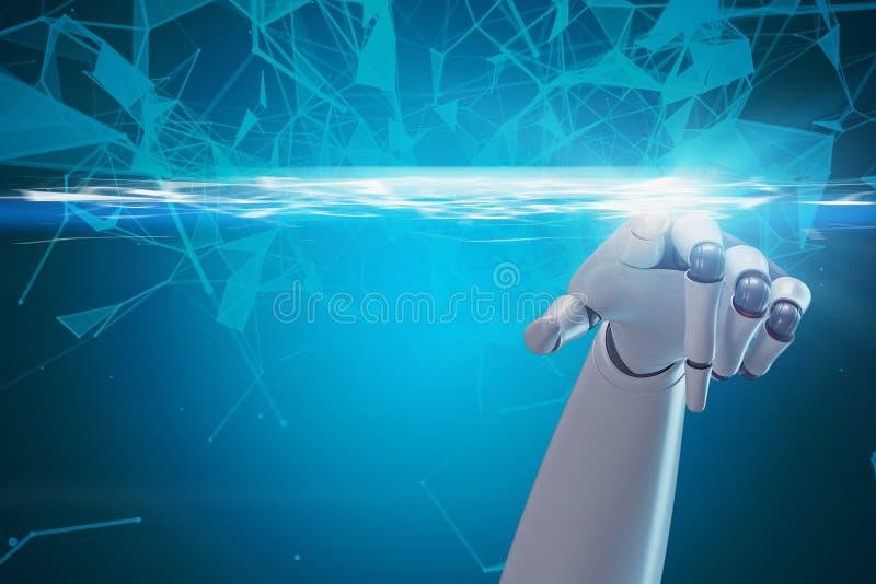 Mão do robô usando a interface de rede azul ilustração royalty free