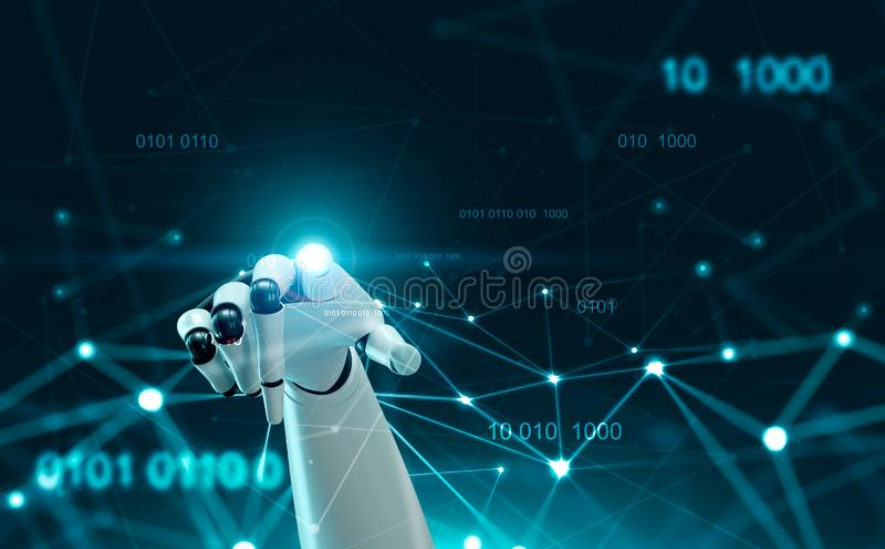 Mão do robô usando a relação do ponto da conexão ilustração do vetor