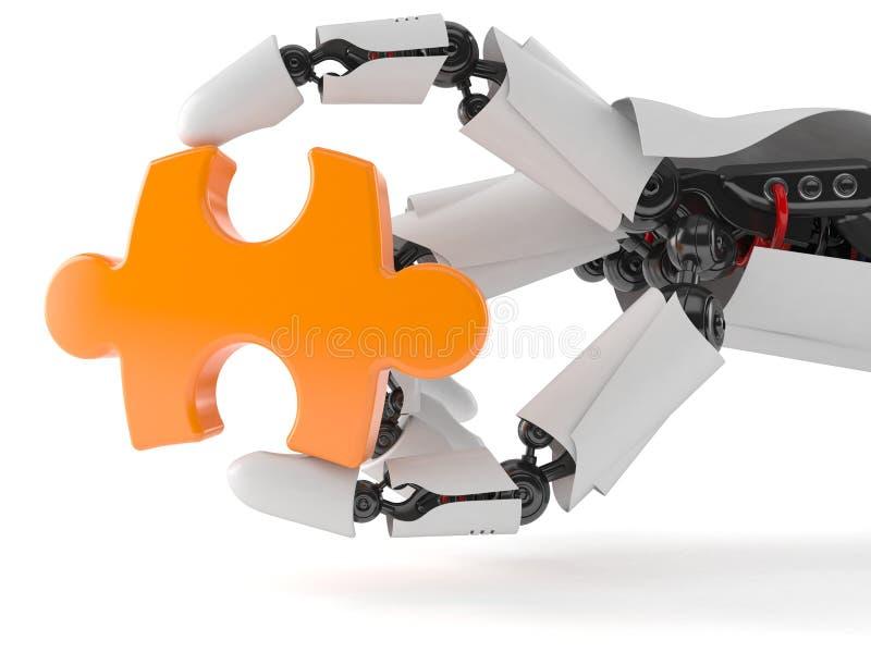 Mão do robô com enigma de serra de vaivém ilustração royalty free