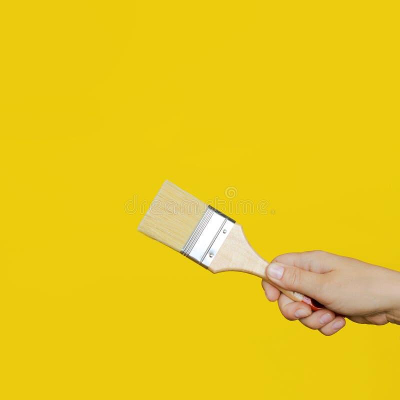 A mão do ` s da mulher guarda uma escova de pintura limpa fotografia de stock royalty free