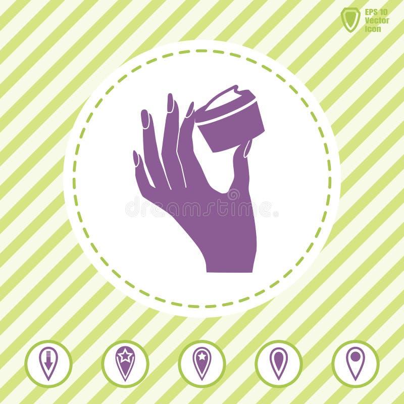 Mão do ` s da mulher que guarda o ícone do creme de cara ilustração stock