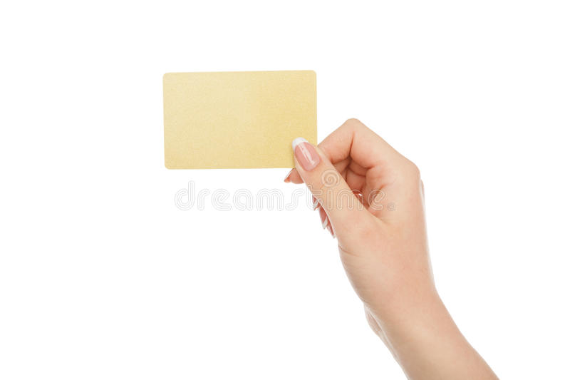 A mão do ` s da mulher que guarda o cartão plástico, colheita, cortou fotografia de stock