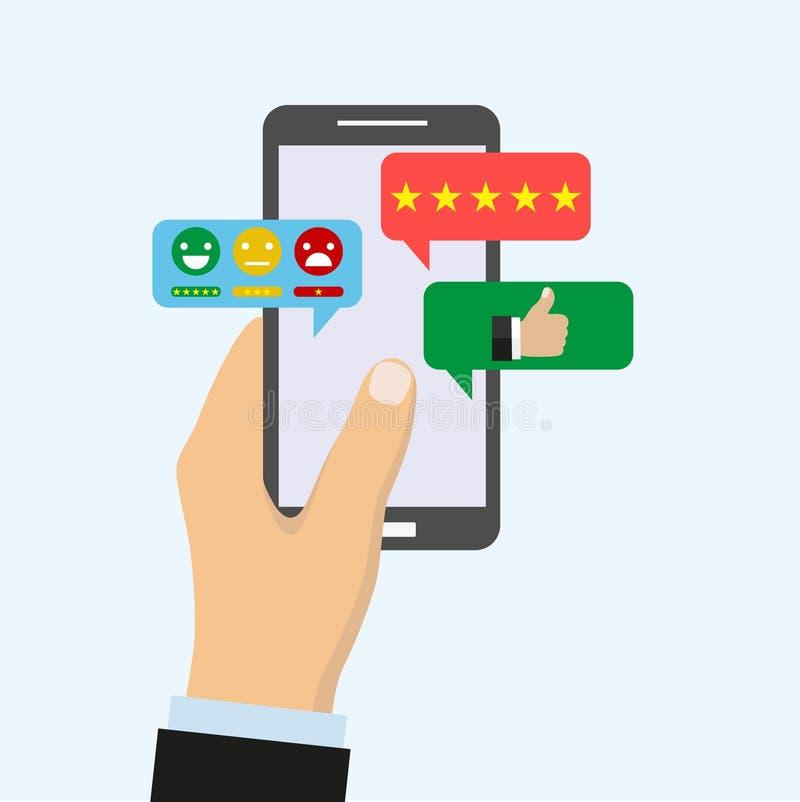 A mão do ` s dos homens mantém o smartphone moderno com uma aplicação social da rede ou o Instant Messenger na tela ilustração stock