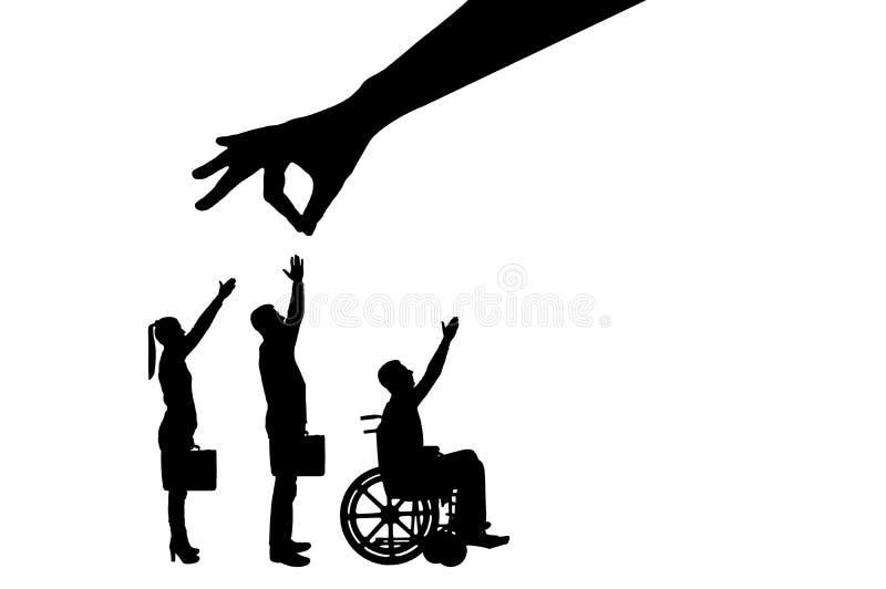 A mão do ` s do empregador da silhueta do vetor escolhe um trabalhador saudável de uma multidão de povos e não um inválido em uma ilustração royalty free