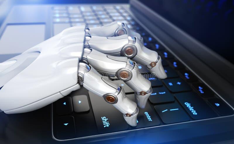 Mão do ` s do robô que datilografa no teclado ilustração do vetor