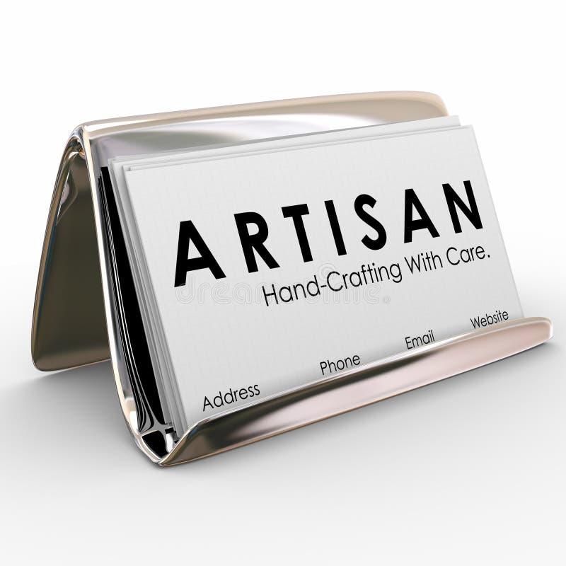 Mão do suporte de cartão do artesão que Crafting produtos feitos ilustração stock