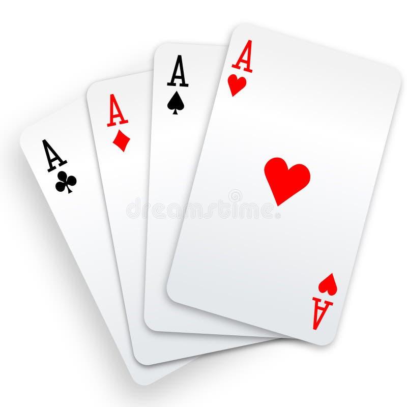Mão do vencedor do póquer de quatro cartões de jogo dos ás ilustração royalty free