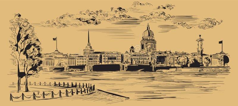M?o do vetor de Brown que tira St Petersburg 8 ilustração do vetor