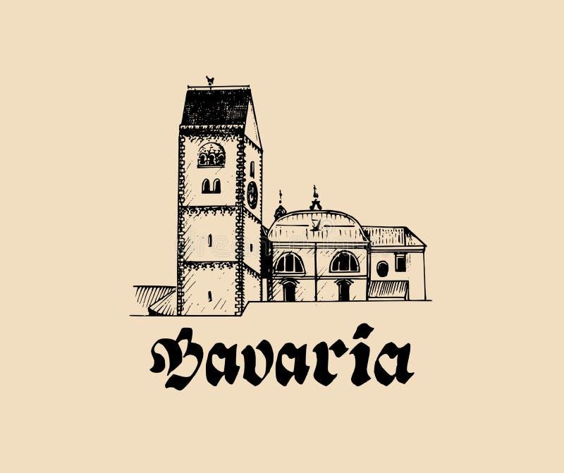 A mão do vetor esboçou o símbolo bávaro da arquitetura Ilustração com vista do turista de Alemanha para cartão, cartazes ilustração stock