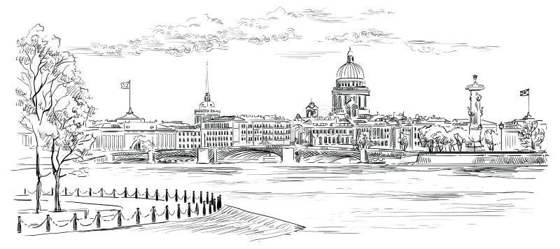 Mão do vetor que tira St Petersburg 8 ilustração royalty free