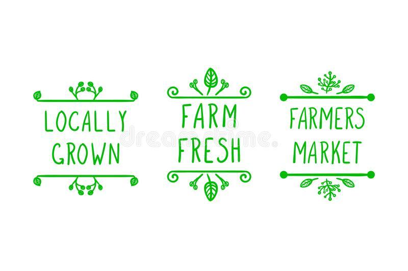 A mão do vetor tirada cultivando ícones, rabisca quadros florais e letras escritas à mão: Os fazendeiros introduzem no mercado, c ilustração do vetor