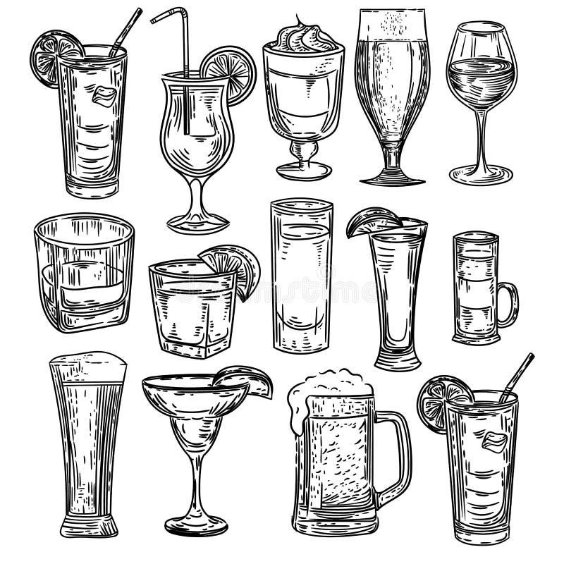 A mão do vetor tirada dos cocktail ajustou-se no fundo branco ilustração do vetor
