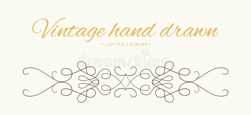 A mão do vetor tirada floresce, elemen do projeto gráfico do divisor do texto ilustração stock