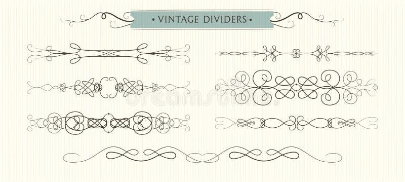 A mão do vetor tirada floresce, os divisores, de alta qualidade gráfico ilustração stock