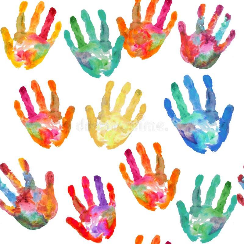 A mão do vintage da diversidade da aquarela imprime o fundo sem emenda do teste padrão fundo branco para crianças ilustração do vetor