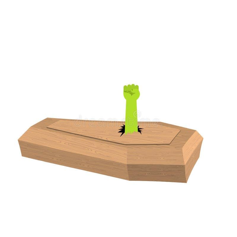 Mão do zombi do caixão Mão do homem verde ilustração stock