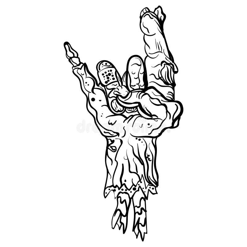 Mão do zombi da rocha Gesto da rocha do sinal do metal pesado ilustração royalty free