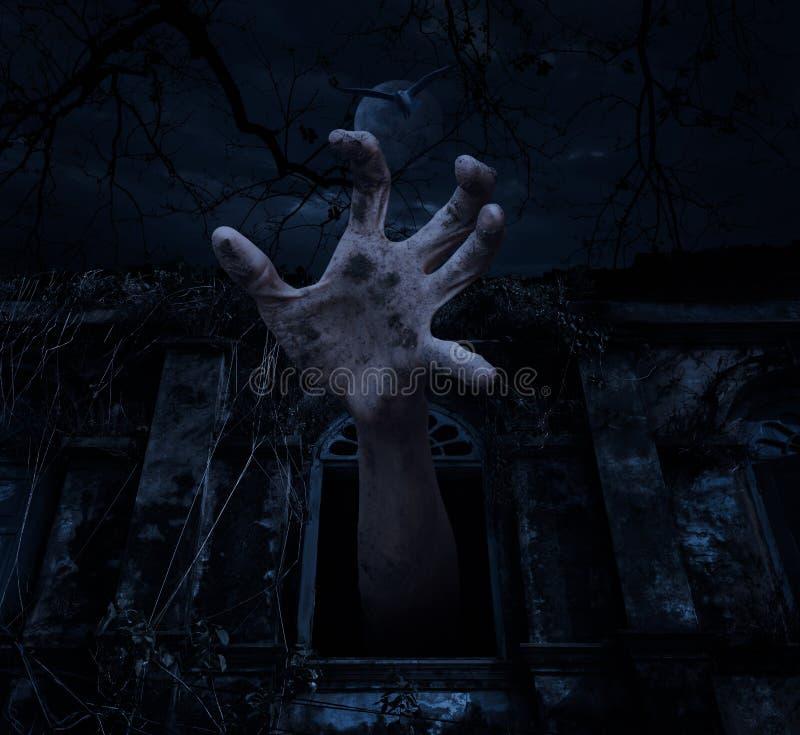 Mão do zombi que aumenta para fora da janela antiga velha com mosca do pássaro sobre ilustração do vetor