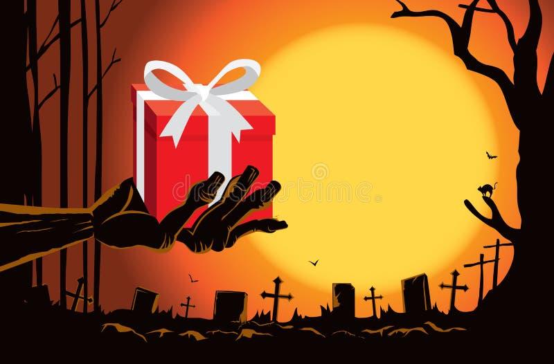 Mão do zombi que guarda a caixa de presente na sepultura ilustração royalty free