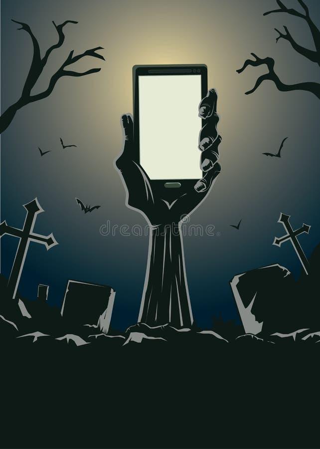 Mão do zombi que guarda o smartphone ilustração stock