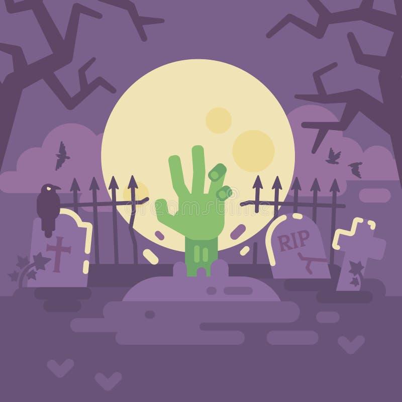 Mão do zombi que sai da sepultura Truque ou deleite Noite de Dia das Bruxas ilustração do vetor