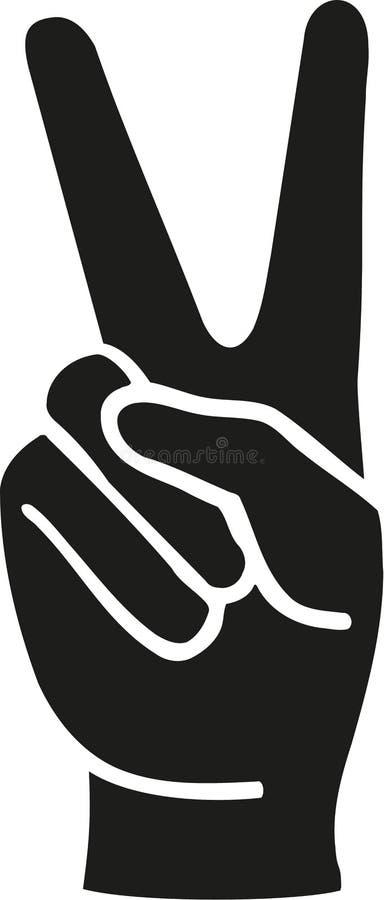 Mão dos dedos da paz ilustração do vetor