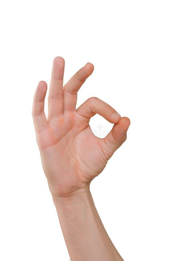 Mão dos dedos do homem que mostram a aprovação do gesto imagem de stock