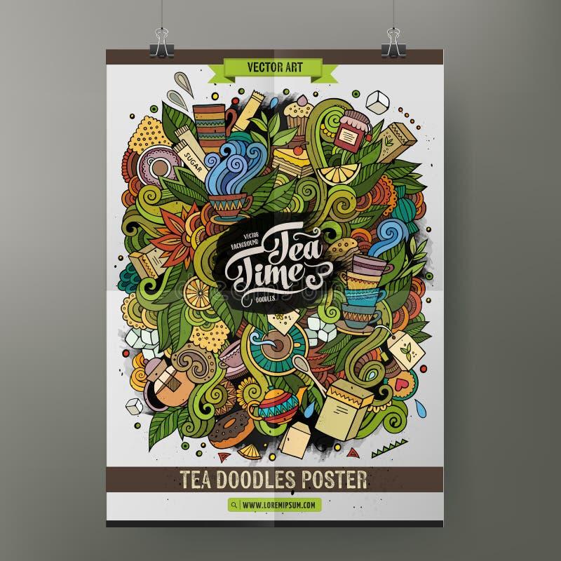 A mão dos desenhos animados tirada rabisca o cartaz do chá ilustração royalty free