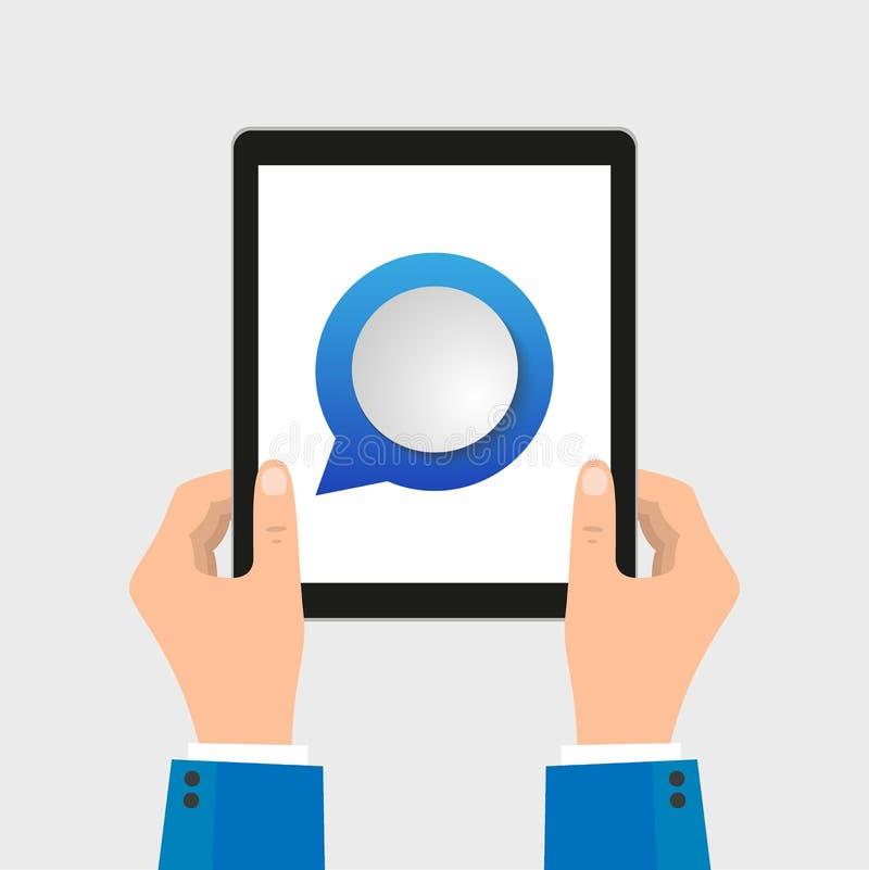 Mão dos executivos com o móbil com subtítulos nas telas Conceito da rede do comunicação-mercado ilustração royalty free