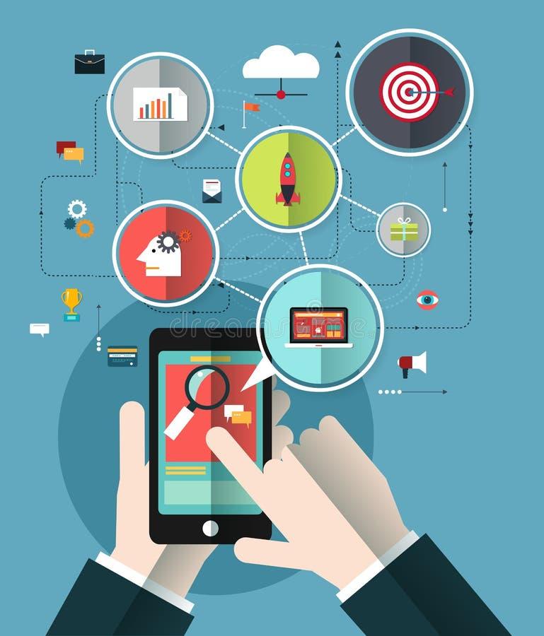 Mão dos executivos com o telefone celular ilustração royalty free