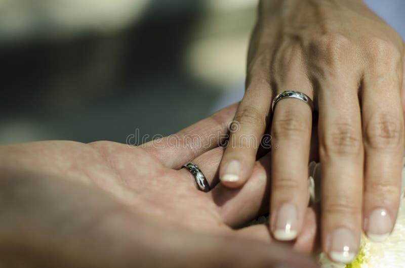 A mão dos noivos que mantém-se unida com as alianças de casamento fotografia de stock