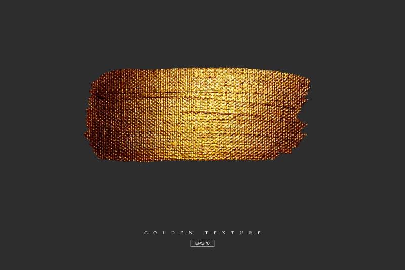 Mão dourada mancha tirada da mancha Textura acrílica com efeito da lona Curso da escova do ouro isolado no fundo preto ilustração stock
