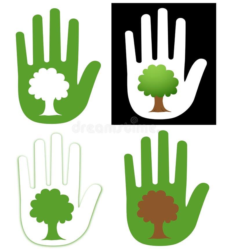 Mão e árvore ilustração royalty free