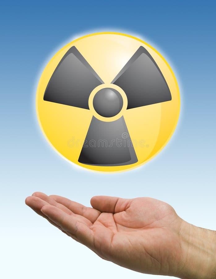 Mão e ícone radioativo ilustração stock