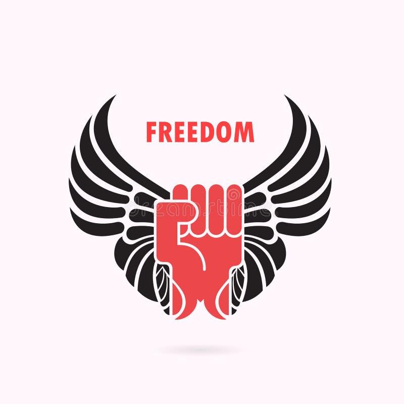 Mão e asas humanas Ícone vermelho do punho e da asa Ícone da força Poder e ilustração do vetor