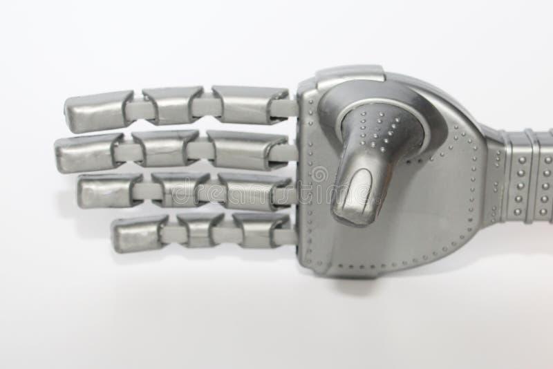 Mão e borboleta do robô E Close-up Fundo branco imagens de stock royalty free