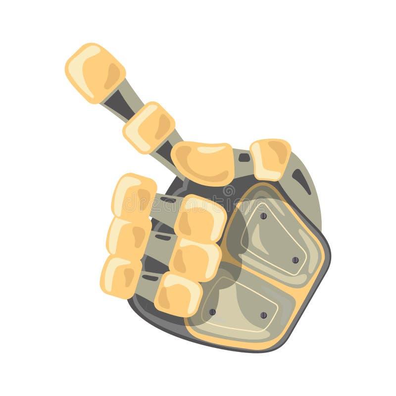 Mão e borboleta do robô Gestos de mão Um número ponteiro Conceito de projeto futurista da inteligência artificial Ilustração do v ilustração royalty free