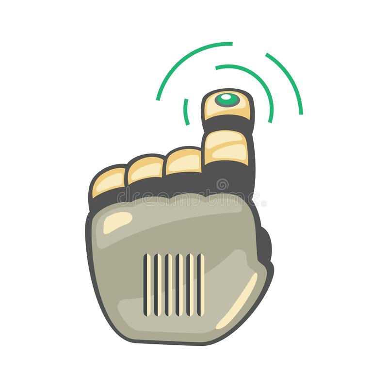 Mão e borboleta do robô Símbolo mecânico da engenharia da máquina da tecnologia Gestos de mão Acima de ponteiro pressione o sinal ilustração royalty free
