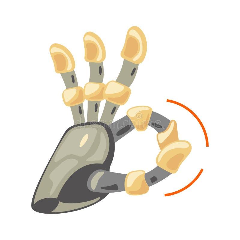 Mão e borboleta do robô Símbolo mecânico da engenharia da máquina da tecnologia Gestos de mão Aprovação Sinal fresco Bom sinal Pa ilustração do vetor