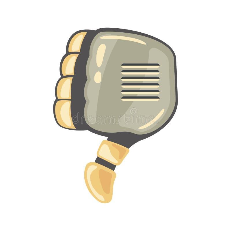 Mão e borboleta do robô Símbolo mecânico da engenharia da máquina da tecnologia Gestos de mão mau Ao contrário do sinal Votação n ilustração do vetor