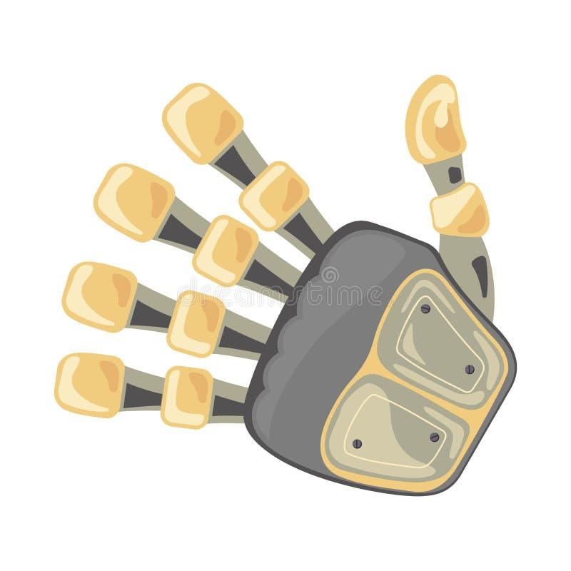 Mão e borboleta do robô Símbolo mecânico da engenharia da máquina da tecnologia Gestos de mão Número cinco quinto Projeto futuris ilustração do vetor