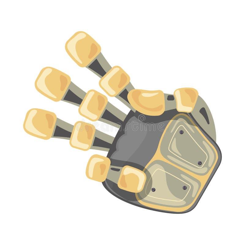 Mão e borboleta do robô Símbolo mecânico da engenharia da máquina da tecnologia Gestos de mão três ponteiro terceiro Projeto futu ilustração do vetor