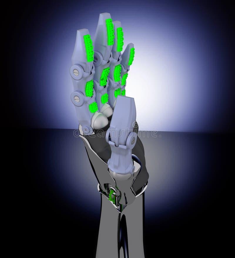 Mão e borboleta do robô ilustração do vetor